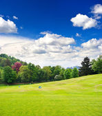Golf field and blue cloudy sky. european landscape — Stock Photo