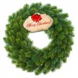 Traditional green christmas wreath with gift tag — Stock Photo