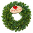 Stock Photo: Traditional green christmas wreath with gift tag
