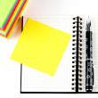 Pencil on open note book. Colorful paper notes — Stock Photo