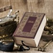 Old bible book on vintage background — Stock Photo