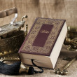 Old bible book on vintage background — Stock fotografie