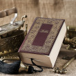Old bible book on vintage background — Stock Photo #14529009