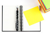 Pencil on open note book — Stock Photo