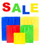 Colorful sale shopping bags — Stock Photo