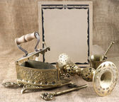 Vintage background with old things — Stock Photo