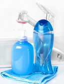 Plastic bottle with liquid soap in bathroom — Stock Photo