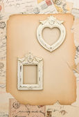 Scrapbooking background with vintage picture frames — Stock Photo