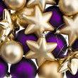 Closeup of lila and golden baubles — Stock Photo