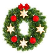 De kroon van Kerstmis met rode en gouden ballen — Stockfoto