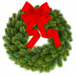Christmas wreath with red ribbon isolated on white — Stock Photo