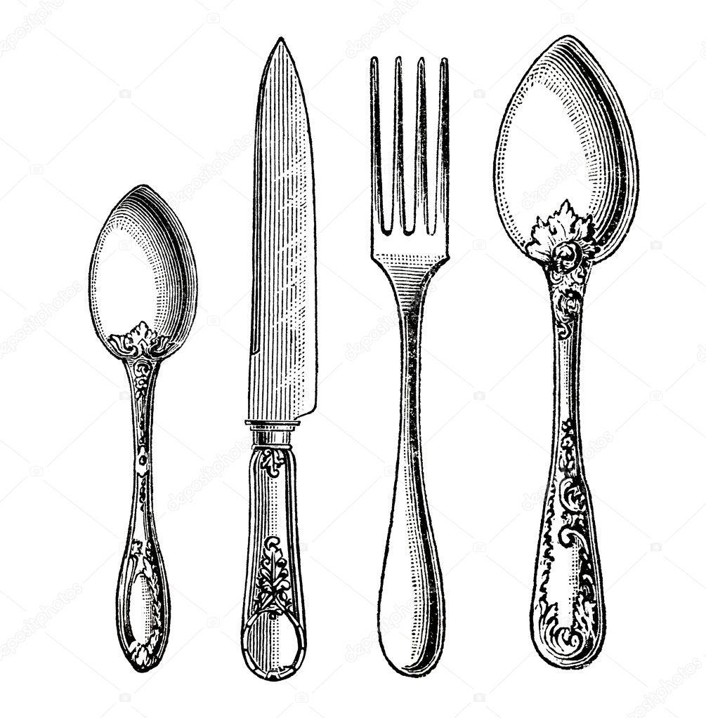 Vintage Knife Drawing Vintage Silverware Knife Fork