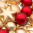 Closeup of red and golden baubles — Stock Photo #14867489