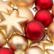 Closeup of red and golden baubles — Stock Photo