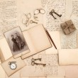 Vintage accessories, letters and photo of couple — Stock Photo
