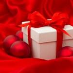 White gift box with christmas balls decoration — Stock Photo