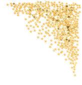 Zlatá konfety v tvar hvězdy na bílém pozadí — Stock fotografie