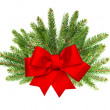 Branch of christmas tree with red ribbon bow — Stock Photo