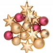 Golden and pink christmas balls — Stock Photo