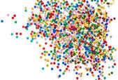 Kleurrijke geassorteerde confetti met gouden serpentine — Stockfoto