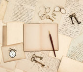 Antique accessories, old letters, watch and keys — Stock Photo