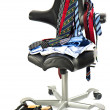 Men's clothing over black leather chair — Lizenzfreies Foto