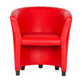 Rood lederen fauteuil — Stockfoto