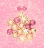 Różowy i złote kulki z magicznego światła — Zdjęcie stockowe