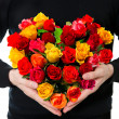 Red roses. flowers bouquet in heart shape. Valentine's Day — Foto Stock