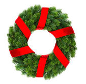 Christmas decoration wreath with red ribbon — Stock Photo