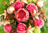 Exotic flower protea and fresh pink roses — Stock Photo