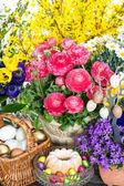 Paskalya yumurta ve pasta dekorasyonu ile bahar çiçekleri — Stok fotoğraf