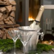 Romantic table setting with champagne and fireplace — Stock Photo