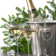 Bottle of champagne with two glasses - Stock Photo