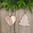 Fresh christmas tree branch with vintage decoration — Stock Photo