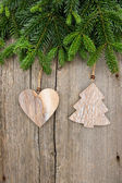 Fresh christmas tree branch with vintage decoration — Photo