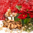 Christmas decoration with red flower poinsettia and snowflakes — Stock Photo