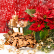 Christmas decoration with red flower poinsettia and snowflakes — Стоковая фотография