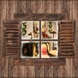 Wooden wall with window and christmas interior — Stock Photo
