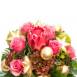 Bouquet of exotic flower protea and pink roses - Stockfoto