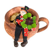 Lucky charm Chimney sweep with clover leaf — Stock Photo