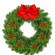Christmas wreath with holly berry and red ribbon bow - Stock Photo