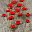 Petals of red rose on wooden background — Stock Photo