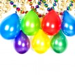 Balloons, streamer and garlands. party decoration — Stock Photo