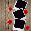 Three old photo frames with red roses petals — Stock Photo