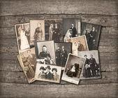 Foto d'epoca di famiglia su fondo in legno — Foto Stock