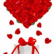 Beautiful red roses bouquet in hearth shape — Stock Photo