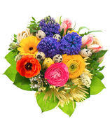 Beautiful easter bouquet of colorful spring flowers — Stock Photo