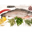 Raw salmon trout fish with fresh herbs and spices — Stock Photo