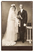 Vintage wedding photo. just married couple — Stock Photo